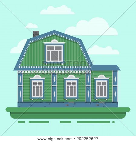 Country green house. Colorful village russian old house. Countryside colored house. Cute outback hut with decoration, grass. Vector illustration art.