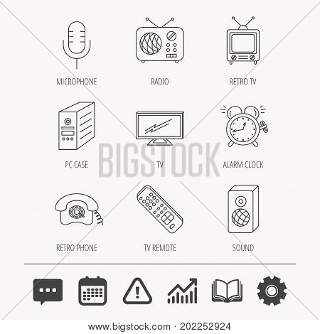 TV remote, retro phone and radio icons. PC case, microphone and alarm clock linear signs. Education book, Graph chart and Chat signs. Attention, Calendar and Cogwheel web icons. Vector