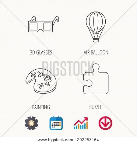 Puzzle, painting and air balloon icons. 3d glasses linear sign. Calendar, Graph chart and Cogwheel signs. Download colored web icon. Vector