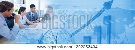 Digital composite of Business people having a meeting with world time transition effect