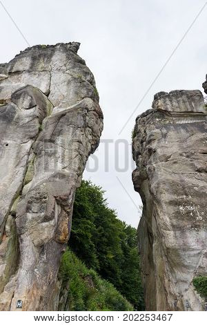 Externsteine at the hiking trail in the Teutoburg Forest North Rhine-Westphalia