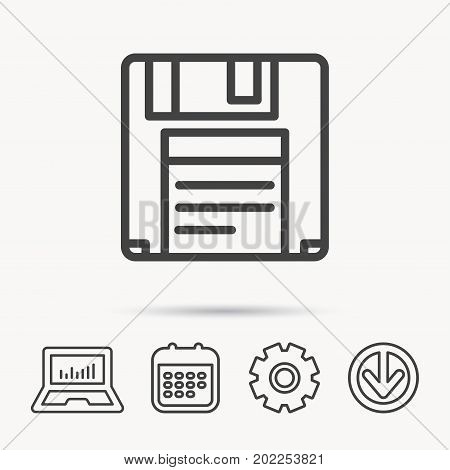 Floppy disk icon. Retro data storage sign. Notebook, Calendar and Cogwheel signs. Download arrow web icon. Vector
