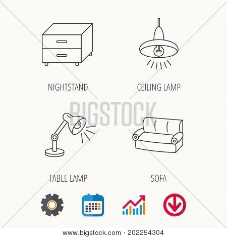 Sofa, table lamp and nightstand icons. Ceiling lamp linear sign. Calendar, Graph chart and Cogwheel signs. Download colored web icon. Vector