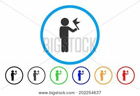 Child With Flag vector rounded icon. Image style is a flat gray icon symbol inside a blue circle. Bonus color variants are gray, black, blue, green, red, orange.