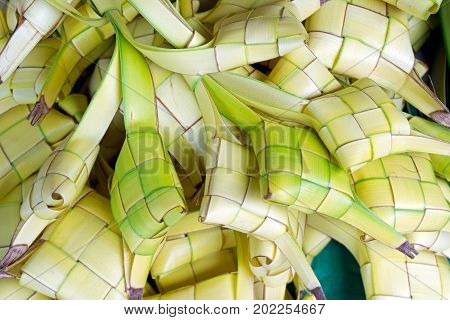 Rice Dumpling Casing Or Also Know As Ketupat Made From Coconut Palm Leaf. Ketupat Is A Type Of Dumpl