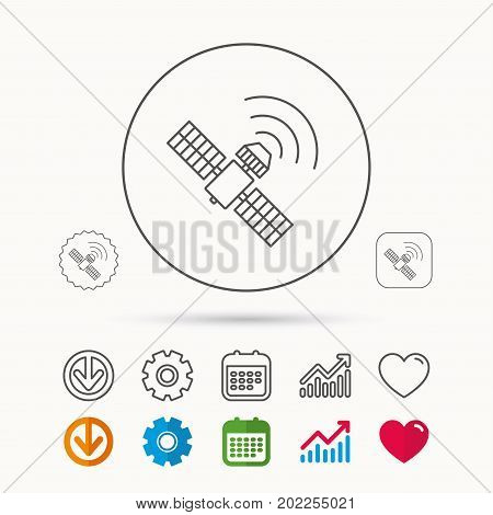 GPS icon. Satellite navigation sign. Calendar, Graph chart and Cogwheel signs. Download and Heart love linear web icons. Vector