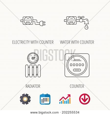 Electricity, radiator and water counter icons. Counter linear sign. Calendar, Graph chart and Cogwheel signs. Download colored web icon. Vector