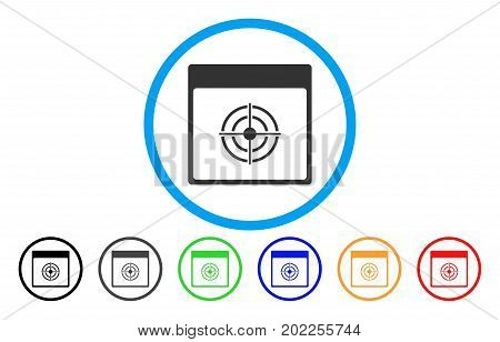 Bullseye Calendar Page vector rounded icon. Image style is a flat gray icon symbol inside a blue circle. Additional color variants are gray, black, blue, green, red, orange.