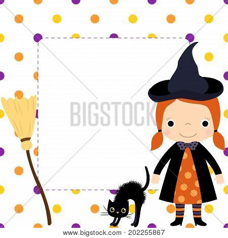 Cute square vector border with cartoon girl in witch costume with hat and orange dress black cat and a broom copy space for text and polka dot background