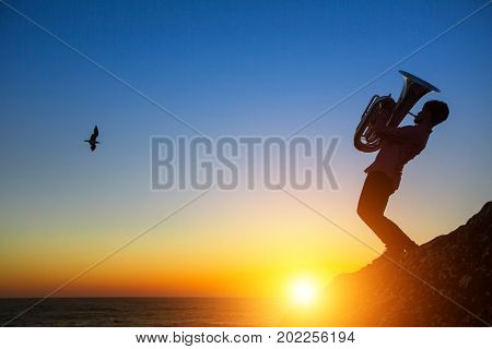 Silhouette of musician play Tuba on sea shore at sunset .