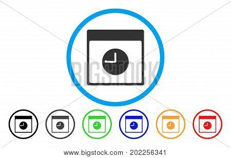 Clock Calendar Page vector rounded icon. Image style is a flat gray icon symbol inside a blue circle. Bonus color variants are gray, black, blue, green, red, orange.