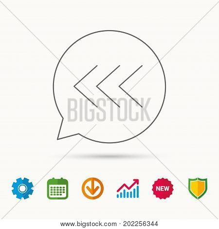 Left arrow icon. Previous sign. Back direction symbol. Calendar, Graph chart and Cogwheel signs. Download and Shield web icons. Vector