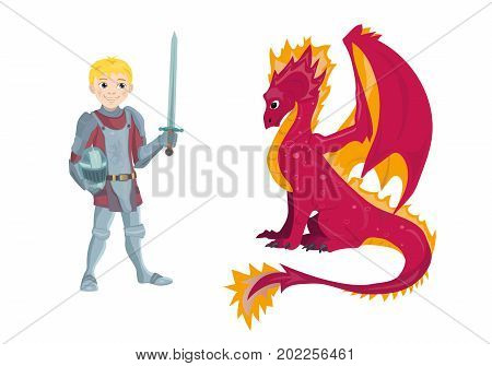 Dragon and young knight character in his suit of armour holding a sword and shield