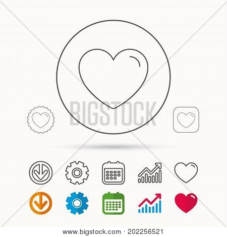Love heart icon. Life sign. Like symbol. Calendar, Graph chart and Cogwheel signs. Download and Heart love linear web icons. Vector
