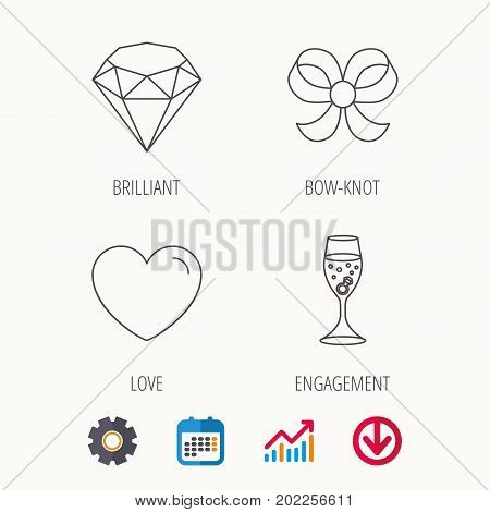 Love heart, brilliant and engagement ring icons. Bow-knot linear sign. Calendar, Graph chart and Cogwheel signs. Download colored web icon. Vector