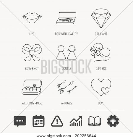 Love heart, gift box and wedding rings icons. Kiss lips and couple linear signs. Valentine amour arrows, brilliant flat line icons. Education book, Graph chart and Chat signs. Vector