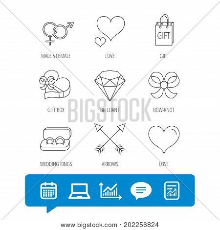 Love heart, gift box and wedding rings icons. Bow and engagement linear signs. Valentine amour arrows, brilliant flat line icons. Report file, Graph chart and Chat speech bubble signs. Vector