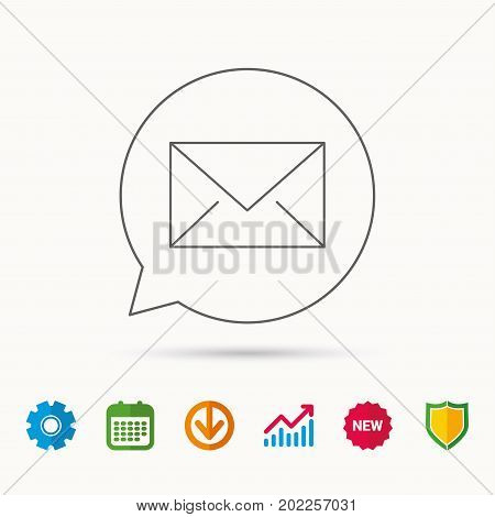 Envelope mail icon. Email message sign. Internet letter symbol. Calendar, Graph chart and Cogwheel signs. Download and Shield web icons. Vector
