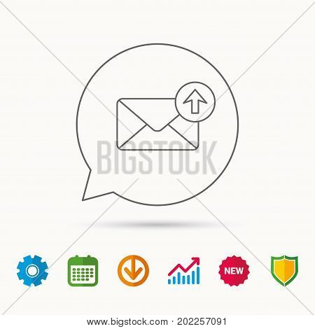 Mail outbox icon. Email message sign. Upload arrow symbol. Calendar, Graph chart and Cogwheel signs. Download and Shield web icons. Vector