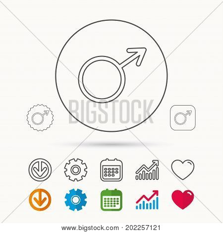 Male icon. Gentlemen sexuality sign. Calendar, Graph chart and Cogwheel signs. Download and Heart love linear web icons. Vector