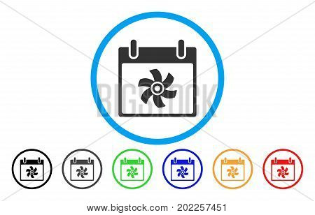 Fan Calendar Day vector rounded icon. Image style is a flat gray icon symbol inside a blue circle. Additional color versions are grey, black, blue, green, red, orange.