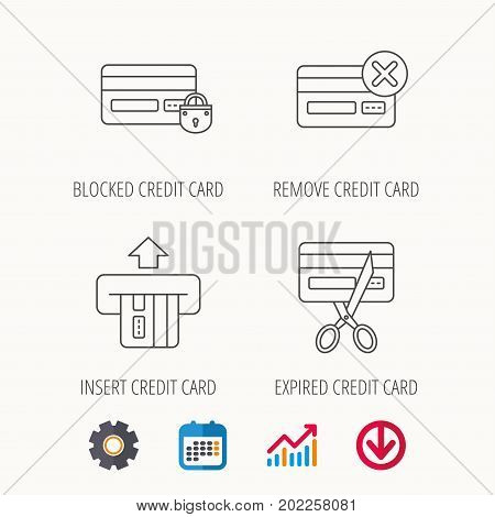 Bank credit card icons. Banking, blocked and expired debit card linear signs. Calendar, Graph chart and Cogwheel signs. Download colored web icon. Vector