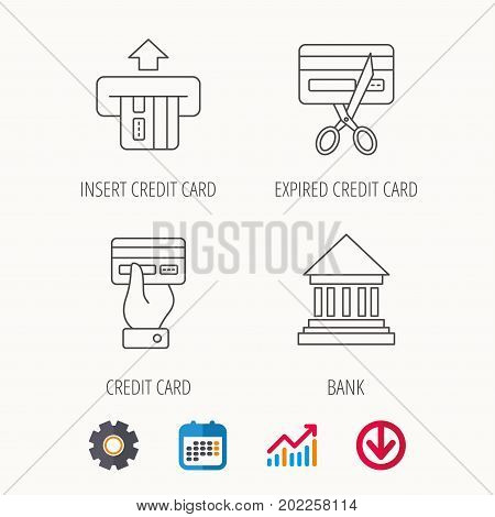 Bank credit card, expired card icons. Give credit card linear sign. Calendar, Graph chart and Cogwheel signs. Download colored web icon. Vector