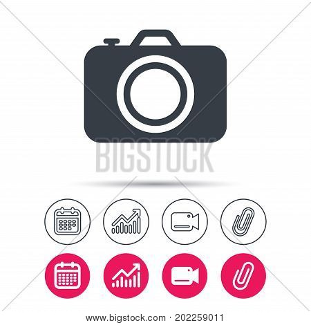 Camera icon. Professional photocamera symbol. Statistics chart, calendar and video camera signs. Attachment clip web icons. Vector