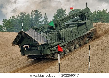 Tyumen, Russia - August 6, 2017: International Army Games. Safe Route contest. Motion of BAT track layer