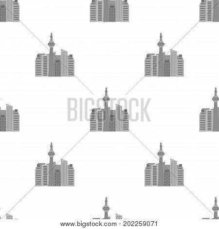 Canadian skyscraper. Canada single icon in monochrome style vector symbol stock illustration .