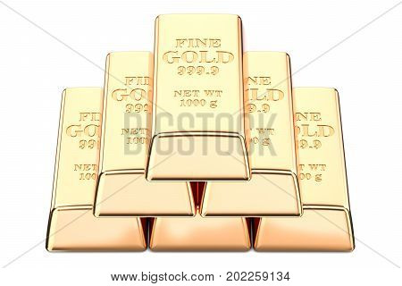Gold ingots closeup 3D rendering isolated on white background