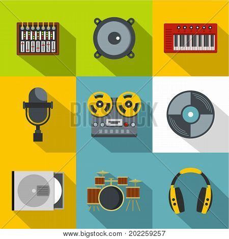 Music stuff icon set. Flat style set of 9 music stuff vector icons for web design