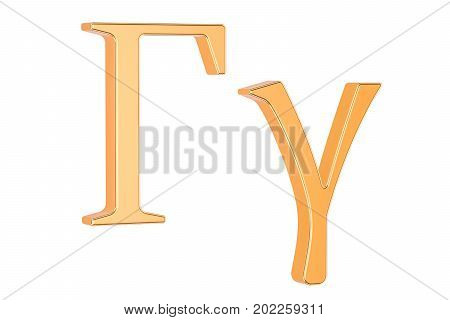 Golden Greek letter Gamma 3D rendering isolated on white background