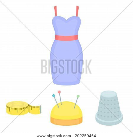 Pincushion with pins, thimble, centimeter, dress.Atelier set collection icons in cartoon style vector symbol stock illustration .
