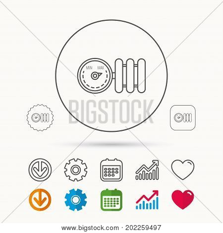 Radiator with regulator icon. Heater sign. Calendar, Graph chart and Cogwheel signs. Download and Heart love linear web icons. Vector