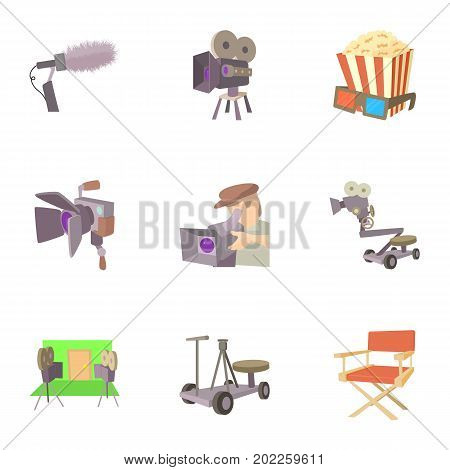Filming location icons set. Cartoon set of 9 filming location vector icons for web isolated on white background