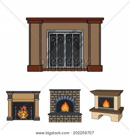 Fire, warmth and comfort.Fireplace set collection icons in cartoon style vector symbol stock illustration .