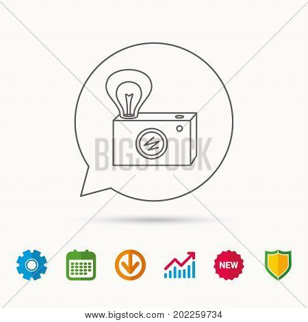Retro photo camera icon. Photographer equipment sign. Camera with lamp flash. Calendar, Graph chart and Cogwheel signs. Download and Shield web icons. Vector