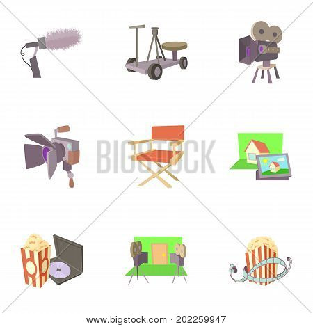 Film creation icons set. Cartoon set of 9 film creation vector icons for web isolated on white background