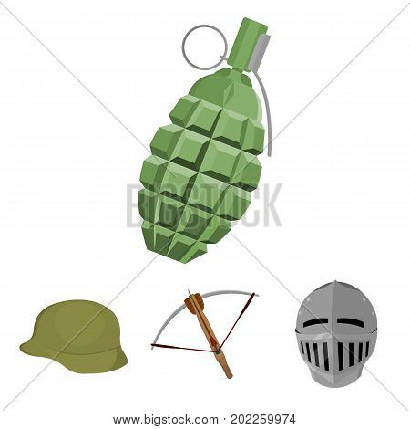 Crossbow, medieval helmet, soldier's helmet, hand grenade. Weapons set collection icons in cartoon style vector symbol stock illustration .