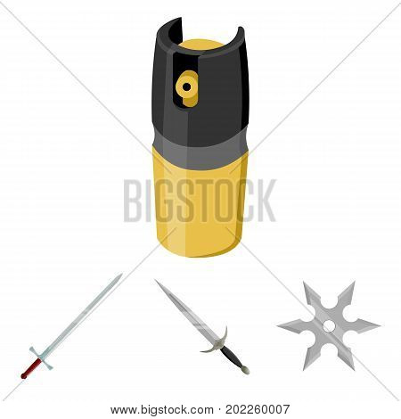 Sword, two-handed sword, gas balloon, shuriken. Weapons set collection icons in cartoon style vector symbol stock illustration .