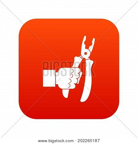 Hand holding chisel icon digital red for any design isolated on white vector illustration
