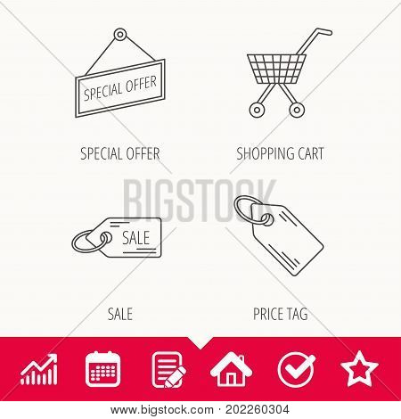 Shopping cart, price tag and sale coupon icons. Special offer label linear sign. Edit document, Calendar and Graph chart signs. Star, Check and House web icons. Vector
