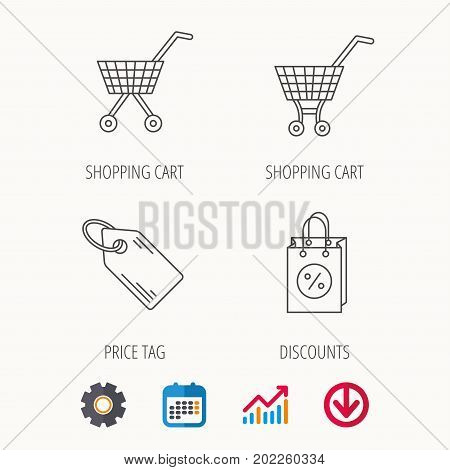 Shopping cart, discounts bag and price tag icons. Sale coupon linear sign. Calendar, Graph chart and Cogwheel signs. Download colored web icon. Vector