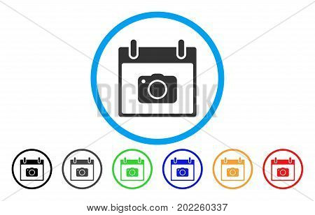 Photo Camera Calendar Day vector rounded icon. Image style is a flat gray icon symbol inside a blue circle. Additional color versions are grey, black, blue, green, red, orange.