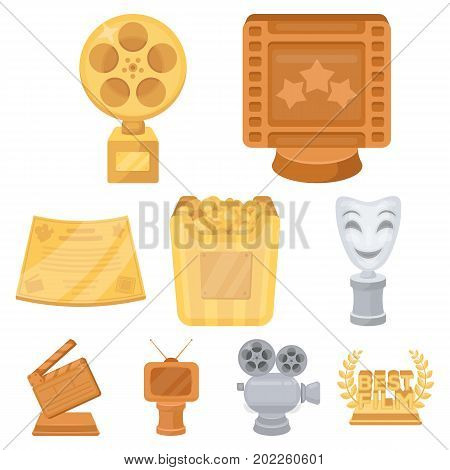 A set of awards for the movie viewings. Gold, silver and bronze awards to the Director, the actor. Moovie awards icon in set collection on cartoon style vector symbol stock web illustration.