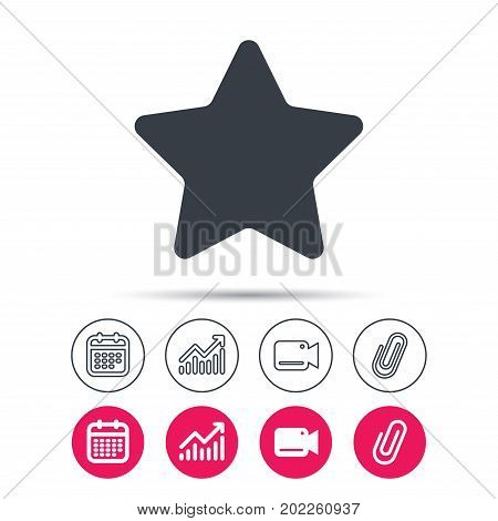 Star icon. Favorite or best sign. Web ranking symbol. Statistics chart, calendar and video camera signs. Attachment clip web icons. Vector