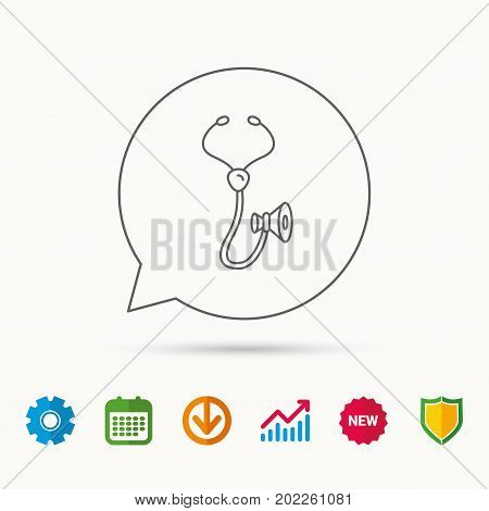 Stethoscope icon. Medical doctor equipment sign. Pulmology symbol. Calendar, Graph chart and Cogwheel signs. Download and Shield web icons. Vector