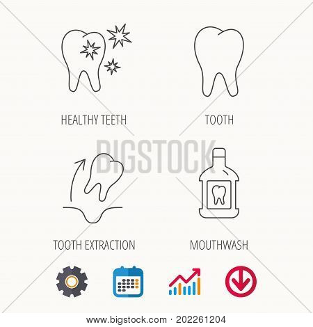Tooth, mouthwash and healthy teeth icons. Tooth extraction linear sign. Calendar, Graph chart and Cogwheel signs. Download colored web icon. Vector