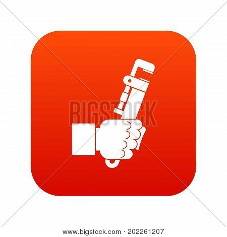 Hacksaw in man hand icon digital red for any design isolated on white vector illustration